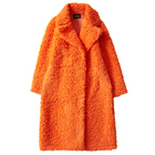 Women's fur coat colored wool long and wide coat
