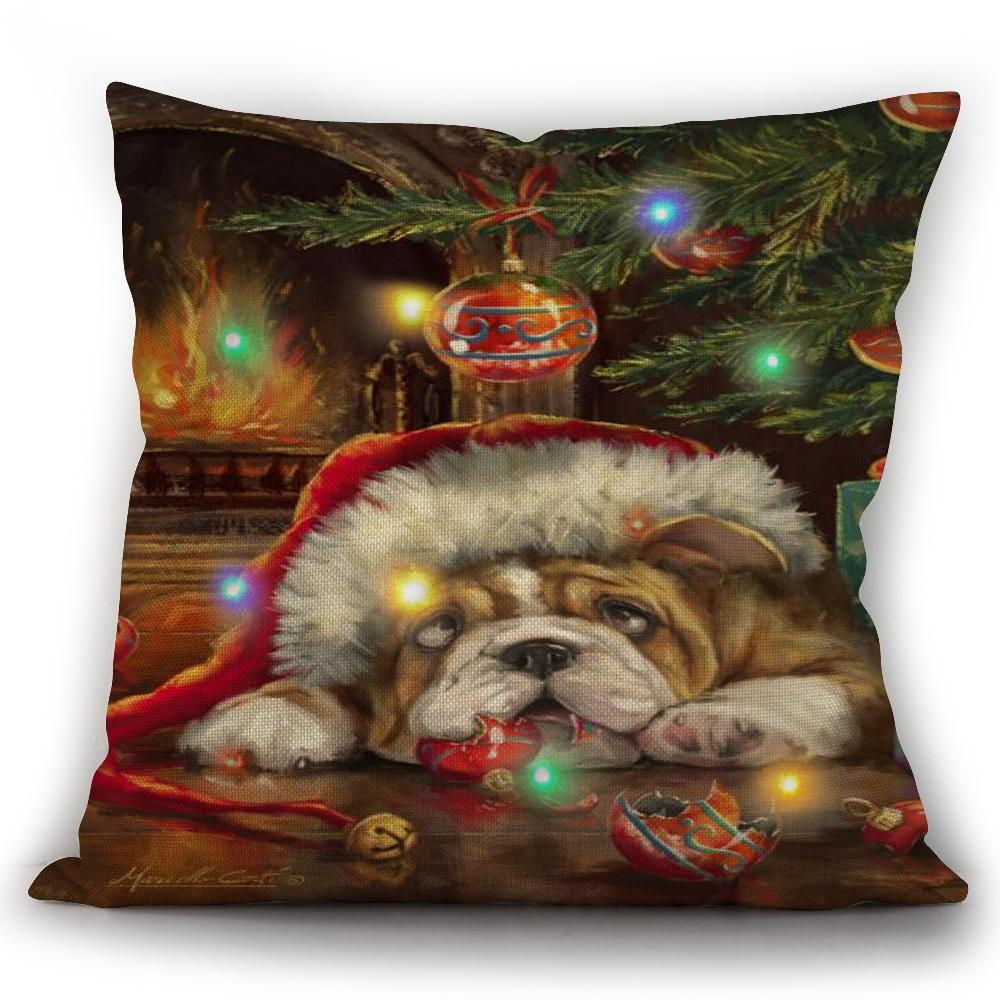 Hotsell seasonal customized pattern plush Led lighted Christmas cushion