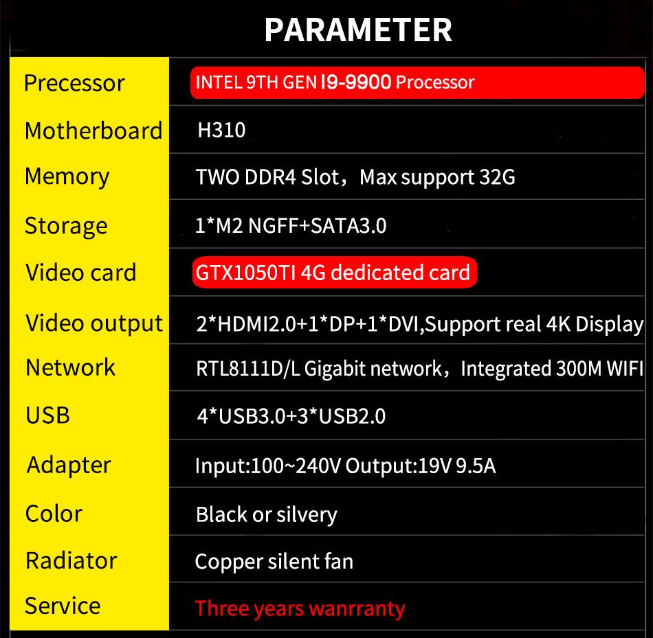9 Gen Intel i9 9900 Desktop Gaming Computer 8 Core 16 Thread Mini PC Win10 GTX 1050Ti 4G Dedicated Graphics DP DVI HD 4 Display
