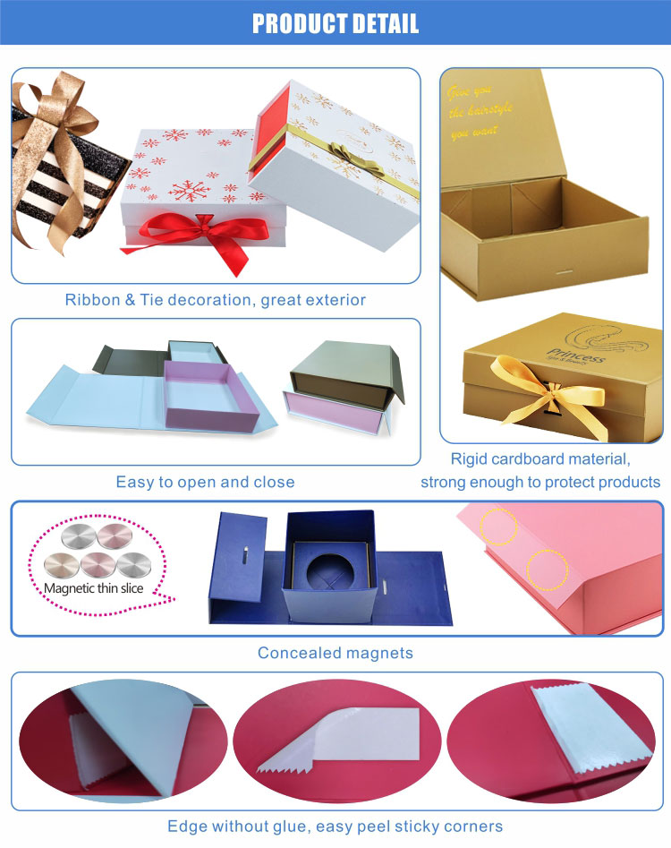Hard cardboard Christmas gift red packaging boxes with fixed ribbon