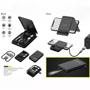 budi factory price high quality multi function urban survival card 6 in 1 mobile phone charging usb cables with wireless charger