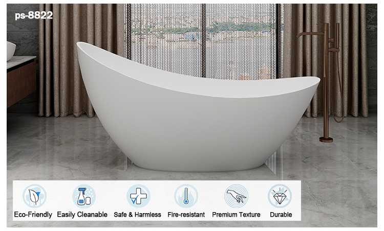 Italian Design Solid Surface composite stone resin freestanding black bathtub for hotel project home use