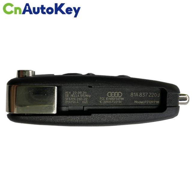 CN008083 2013-2017 Audi A3 Q2L Q3 / 4-Button Flip Key Keyless go / PN: 81A 837 220J / NBGFS12P71 - MQB
