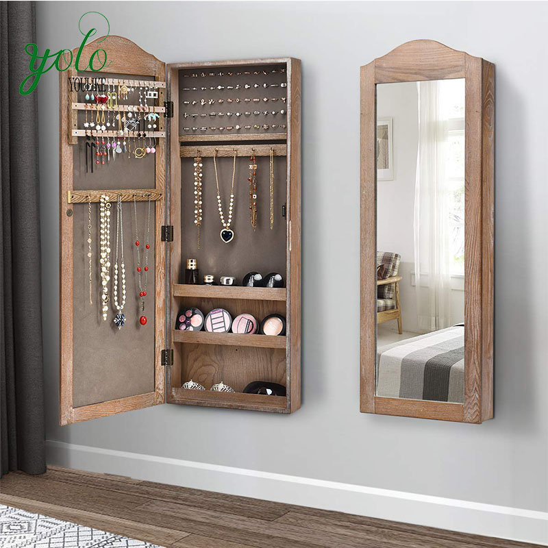 Rustic Wood Wall Mounted Jewelry Armoire Cabinet Door With Mirror