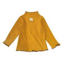 Модная детская повседневная одежда для девочек; универсальная водолазка с длинными рукавами и цветочным принтом; хлопковый джемпер(Китай)