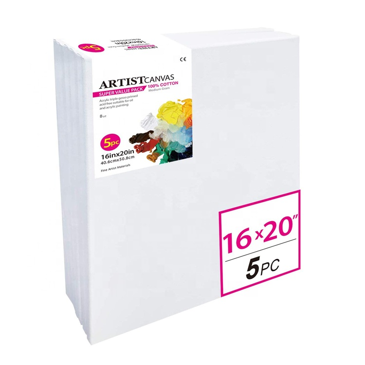Super Value Pack 5pcs 16X20 Art Blank Cotton Painting Canvas Panels And Stretched Canvases Boards For Painting