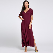 Женское длинное платье-рубашка Celmia, свободное пляжное платье с v-образным вырезом и коротким рукавом, пляжный сарафан большого размера, лето...(Китай)