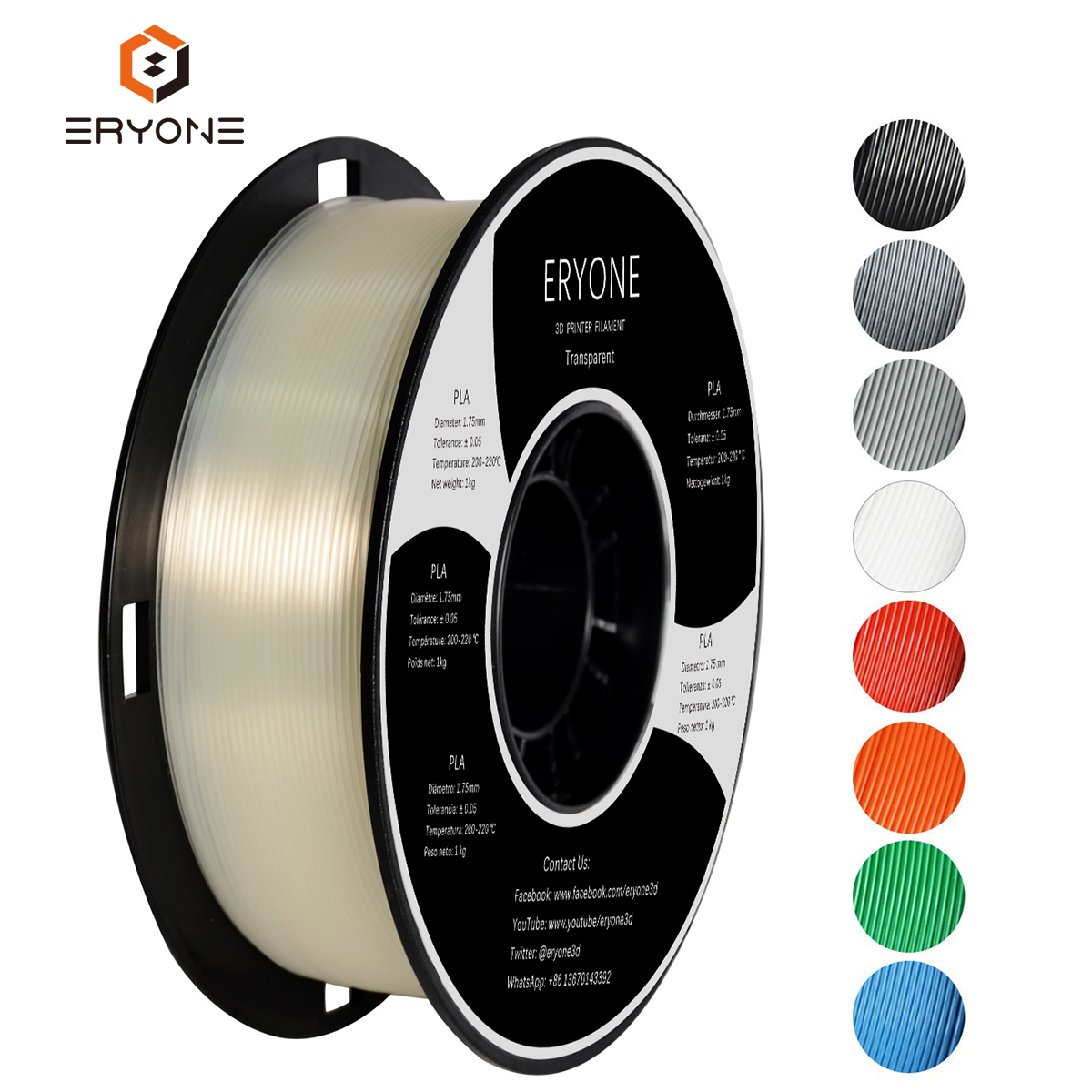 ERYONE PLA Filament 1.75mm, 3D Impression Filament PLA pour 3D imprimante, 1kg 1 Bobine Transparente