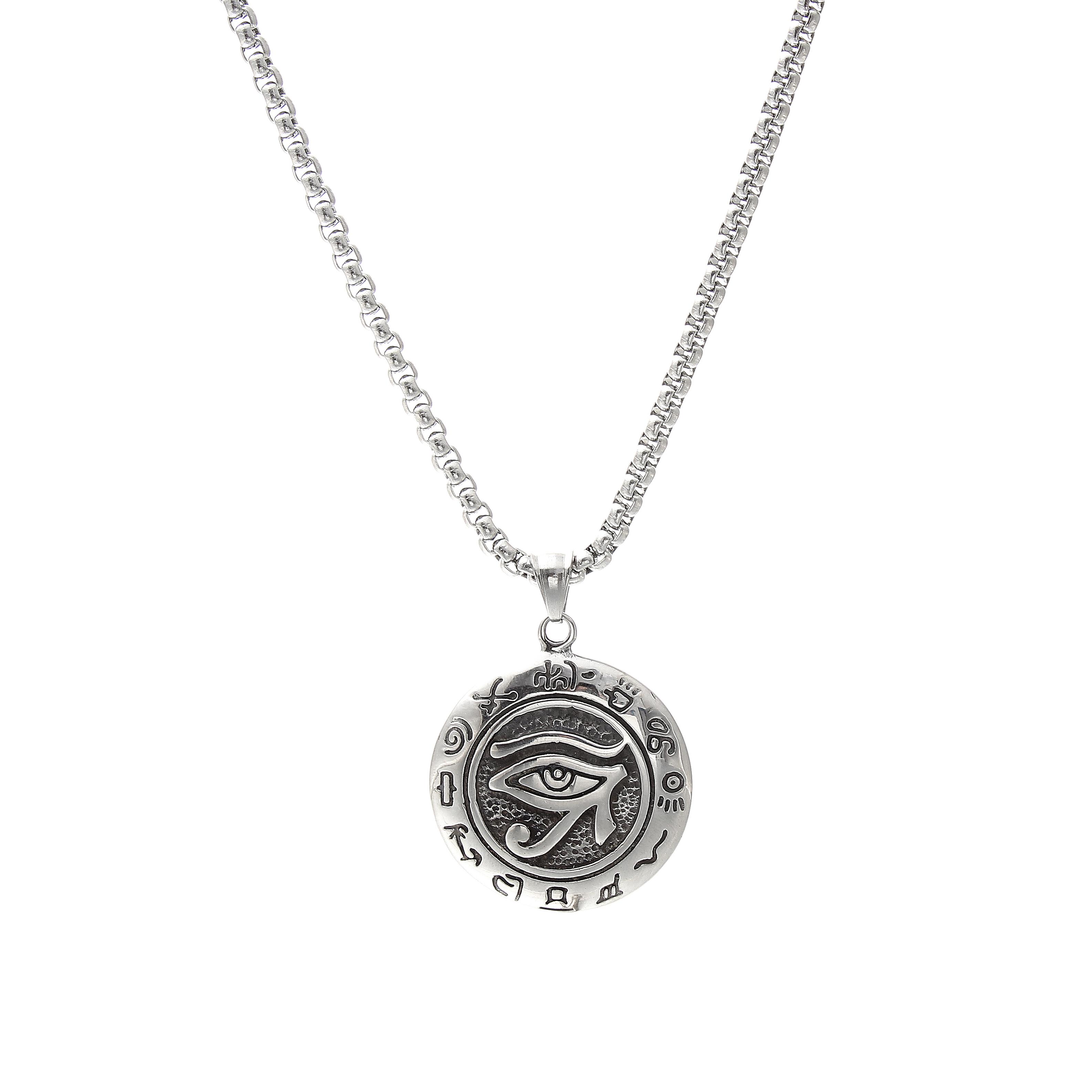 Edelstahl Schmuck Runde Charme Anhänger Rolo Kette Neueste Naturl Halskette Für Männer Frauen