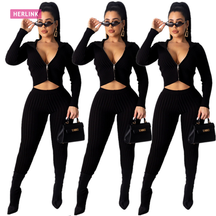 H2542 - ladies casual knit bodycon pants and solid <strong>zip</strong> up crop top two piece set