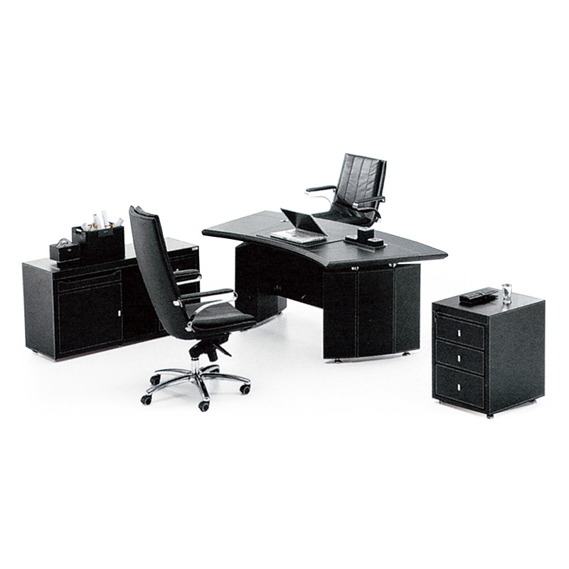 Pengpai fabricante de muebles de oficina Escritorio de lujo negro de cuero de la Pu Set de escritorio de oficina