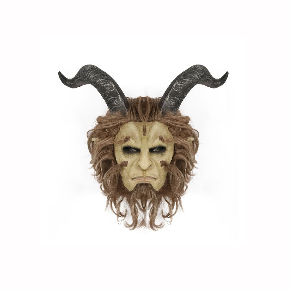 Maschera da Diavolo Capelli Lattice Cosplay FULL FACE HORROR ADULTO halloween FESTA HORN Spaventoso
