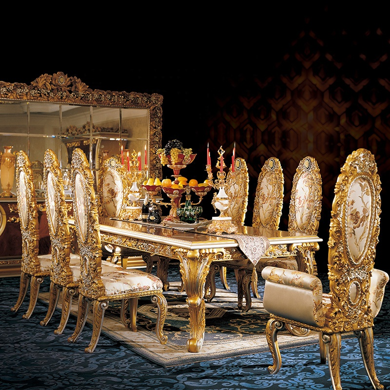 Luxury Solid Wood Antique Carved Dining Set Home Dining Room Furniture Classic Royal Dining Chair And Table