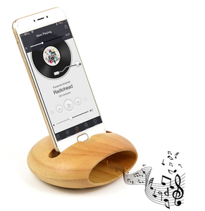 Universal Audio Sound Amplifier Dock Wooden Beech Loudspeaker For Mobile Phone Stand Holder With Pen Slot For Desktop Decoration