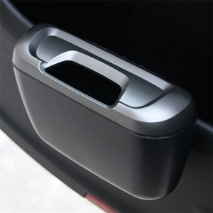 Plastic Door Side Seat Back Mini Car Garbage Trash Bin Trash Can With Hook for Car Automotive