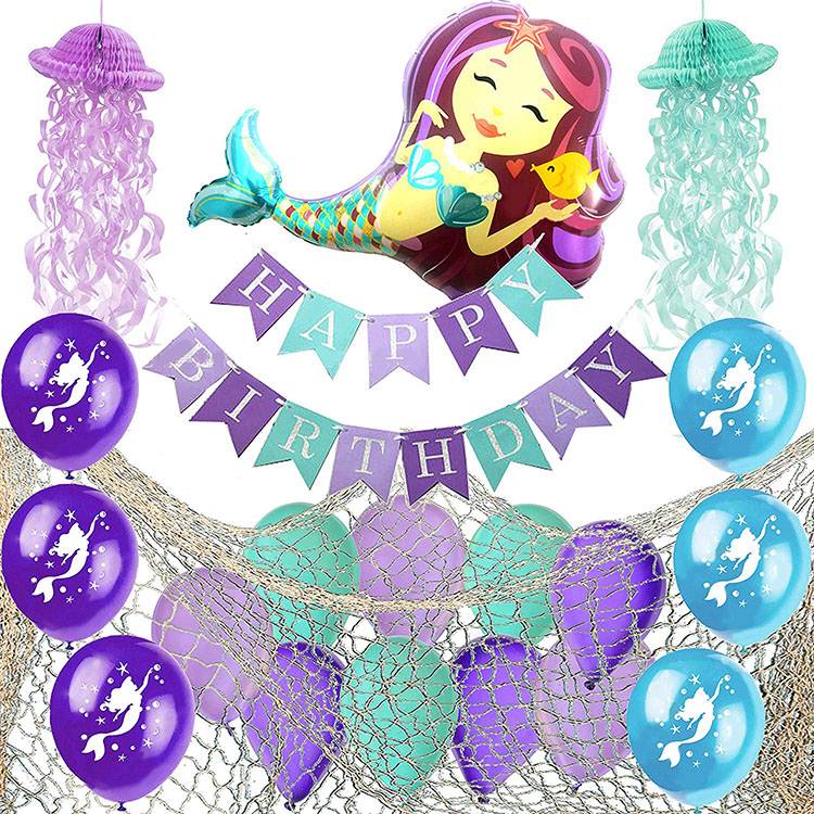 Nicro Spot Amazon Hot Sale Decoration Supplies Set Birthday Baby Shower Mermaid Party