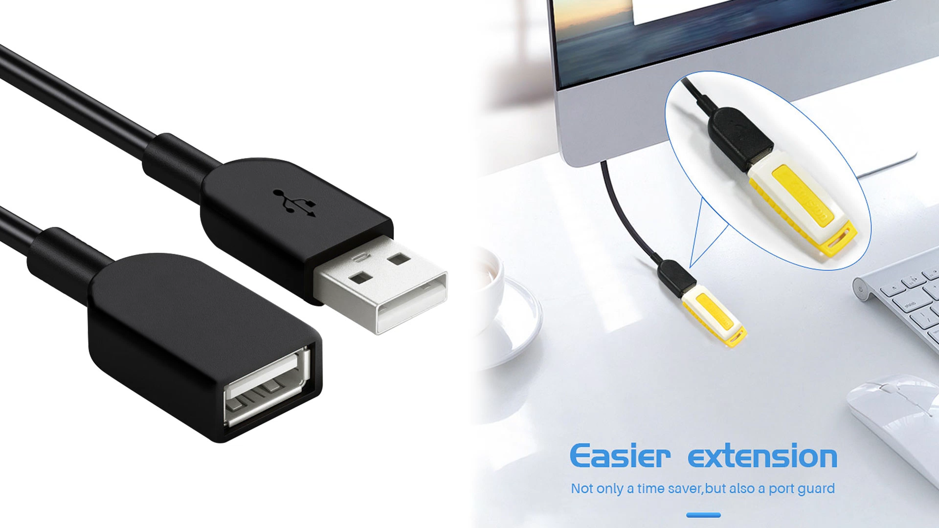 Fast Charging Sync 1M 2M 3M OEM Usb A Male To A Female Data Transfer Cord Usb 2.0 Extension Cable Usb Extension