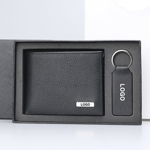 Fashionable gift set wallet men genuine leather men wallet keychain gift box