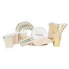 gold color happy new year party biodegradable disposable custom print paper plate sets
