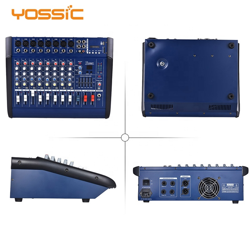 8 channel power amplifier mixer with 48v phantom power and usb / sd socket for performance