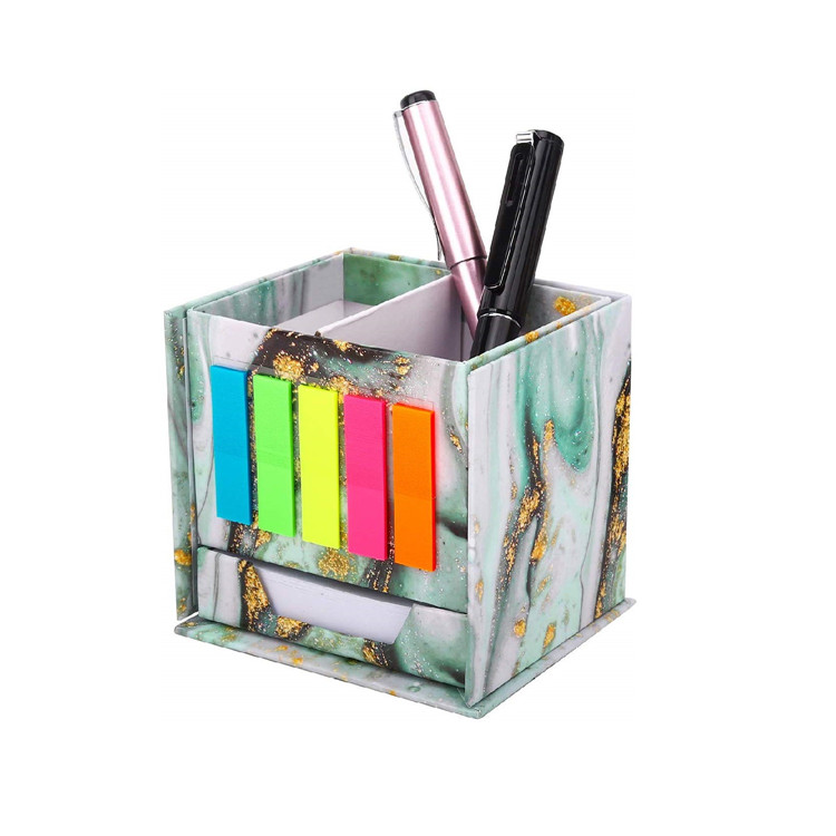 MoKo Desktop Stationery Organizer Pen Pencil Holder with Sticky Notes for Office Home