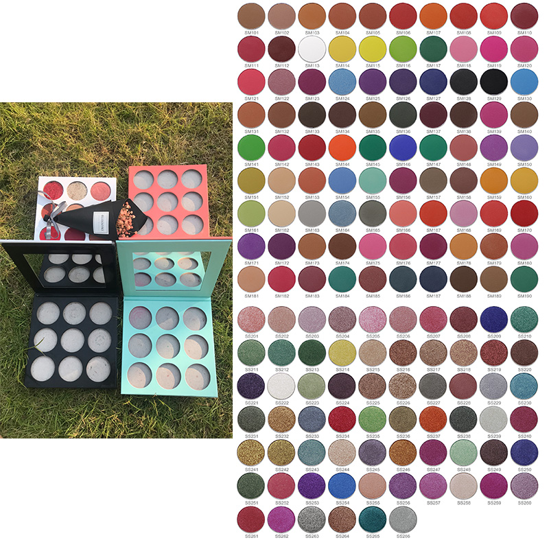 Private Label Cosmetics Custom DIY Makeup Eye shadow High Pigment Make Your Own Brand Eyeshadow Palette Low MOQ