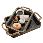 2pcs Wood Serving Tray with Jute Rope Handle Vintage Rustic Farmhouse Wooden Breakfast Tray Decorative Butler Tray Plate