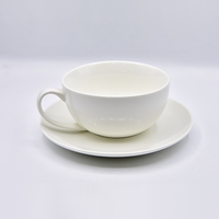 Wholesale Exquisite White Ceramic Coffee Cup And Saucer For Restaurant Cafe,Latte Ceramic Cup