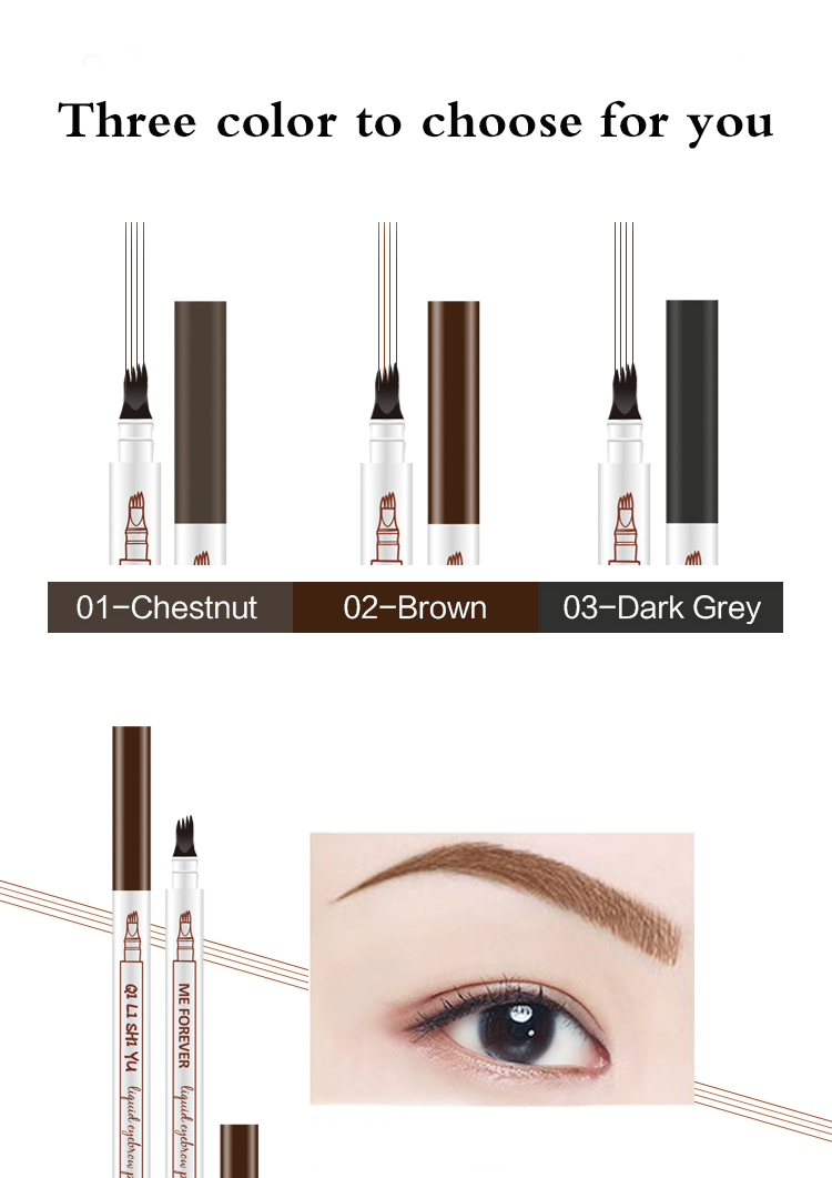 Support OEM/ODM Natural Fork Tip Eyebrow Pencil Four Heads Eyebrow Tattoo Pen Fine Sketch Liquid Long Lasting Eyebrow
