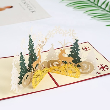 Custom Printed Laser Cut Paper Christmas Reindeer Forest 3D Pop up Christmas Greeting Cards with Envelope