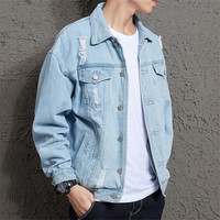 Cotton Solid Denim Jacket Mens Spring Autumn Casual Slim Fit Bomber Jackets Mens Hole Jean Jacket Mens Outwear Male Cowboy