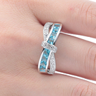 Sky Blue Rings For Women Blue CZ Stone Platinum Plating Engagement Wedding Ring Silver Size 5 6 7 8 9 10 11 12 Finger Rings