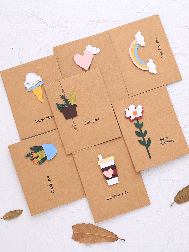 Web celebrity simple girl heart high-end Chinese wind 3D Thanksgiving holiday card small fresh retro cow skin blank card