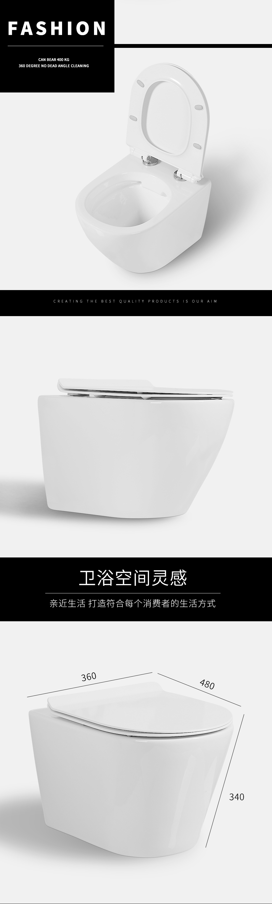 Living Room Public Wall Hung toilet  round rimless sanitary ware ceramic Easy to clean Save space