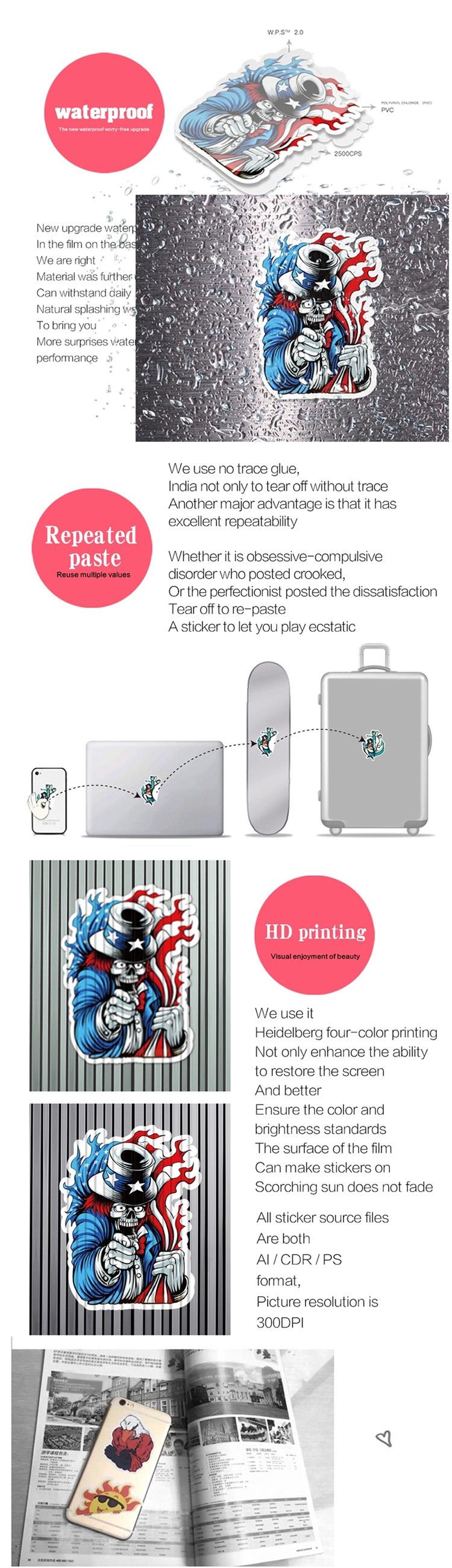 50 Stks/zak Custom Funny Alien Waterdichte Sticker Voor Decoratie En Reclame