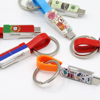 2019 hot selling high quality CE ROHS keychain cable usb 3in1 usb charging cable promotional gifts items for corporate