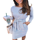 Best selling 2020 autumn and winter casual dresses sexy striped lace round neck long sleeve women dresses