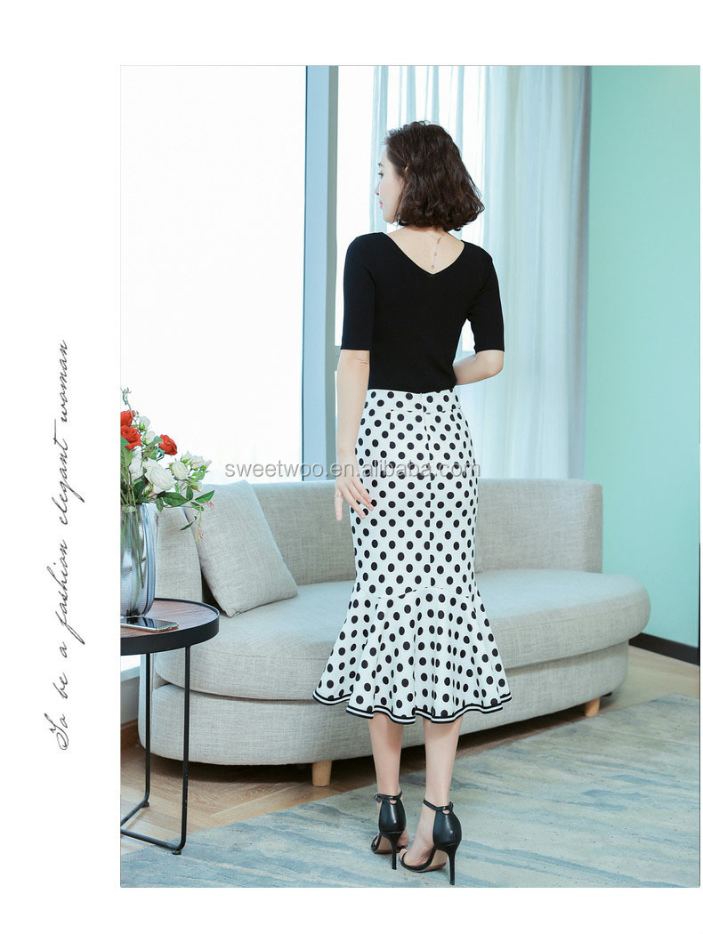 polka dot fishtail skirt slim slimming hip 2020 spring new lotus leaf petal skirt wholesale Factory Direct