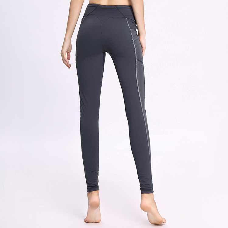 High Waist Wide Waistband Elastic Mesh Gray Yoga Pants Leggings Women