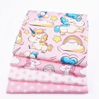 Pink Printed Unicorn Pattern Cotton 100% Twill Fabric For Baby Home Material