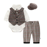 Wholesale Toddler Boys Outfits Infant Clothes Set Long Sleeve Checked Romper Bow Tie Waistcoat Cotton Pants Boy Tuxedo Suit Set