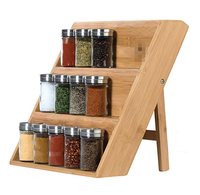 Eco Friendly Wooden Spice Rack 3 Tiered Spice Organizer for Drawer