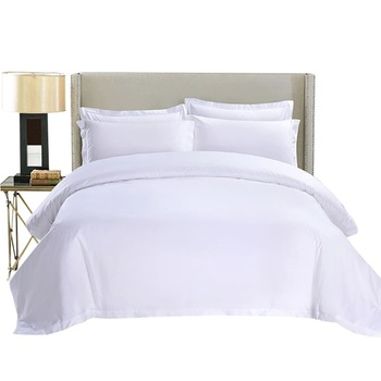 Comfortable Set! Wholesale Hotel Room Linen White Stripe Luxury Hotel Bed Cover Sets Double Bed Couple Satin Duvet Cover Set