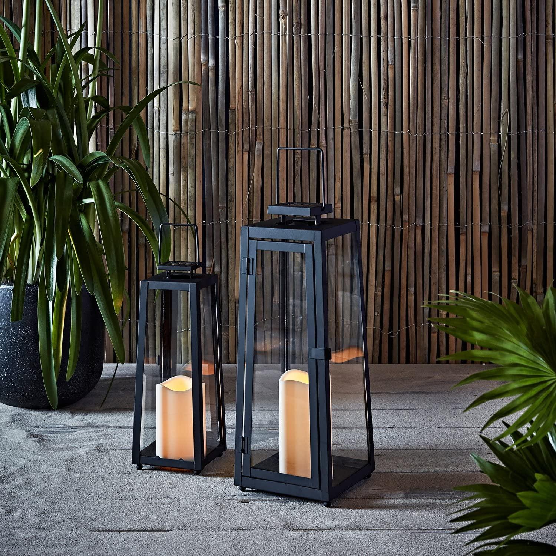 European Simple Outdoor Metal Black Lantern Candle Holder Led Lantern Home Decoration Crafts