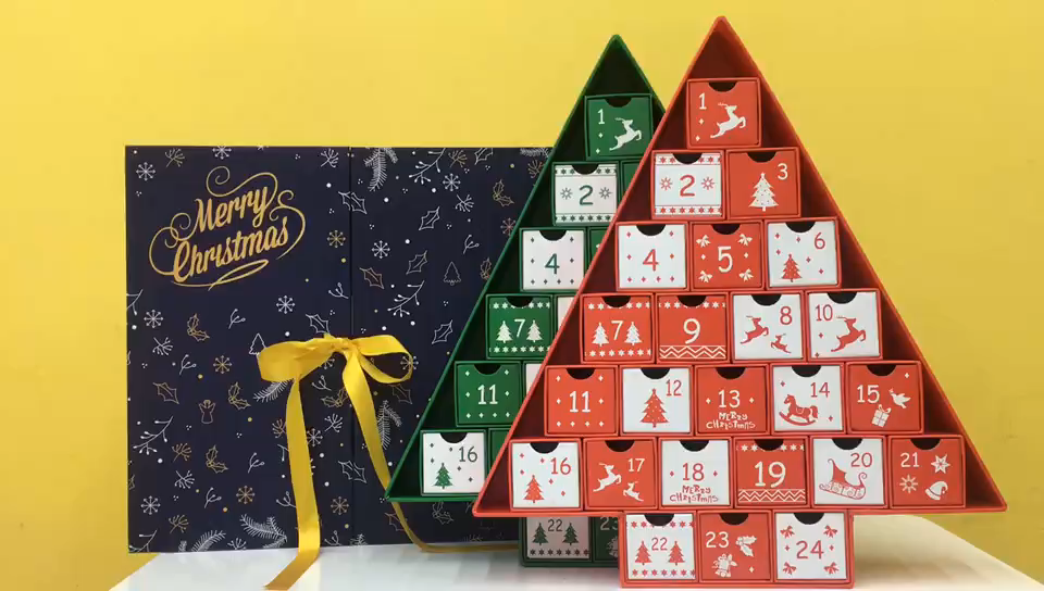 Tree Shape Cardboard Xmas Gift Boxes Candy Box Party Favor Christmas Advent Box