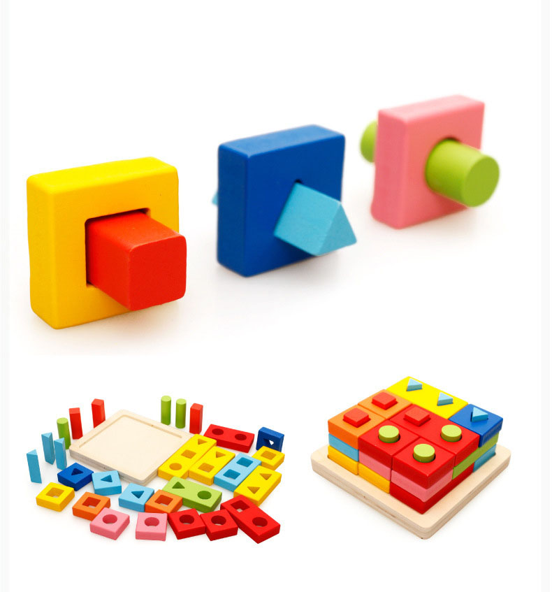 New hottest educational colorful wooden geometric shape blocks wooden puzzle toy  for kids learning shape