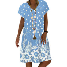 Женские платья, свободное Повседневное платье трапециевидной формы, S-5XL, леопардовое платье с цветочным принтом и звездами, летнее платье, ж...(Китай)