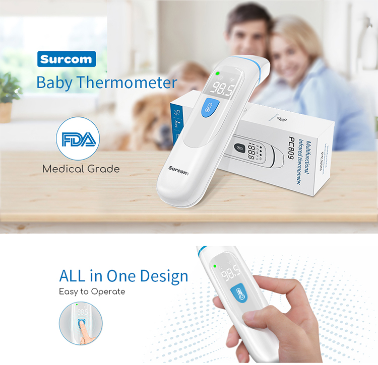 Surcom Baby Body Temperature Digital Infrared Thermometer Smart Kids Fever Forehead Ear Infrared Thermometer For Baby - KingCare | KingCare.net