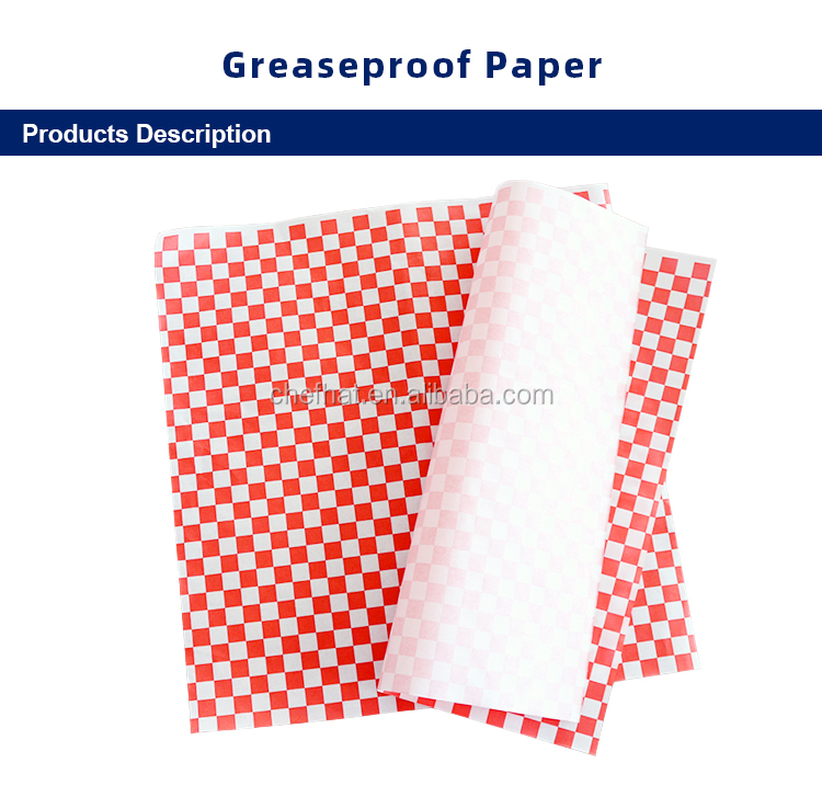 Good Quality Cheap Oil Proof Paper Food Grade Greaseproof Paper With Red&White Square