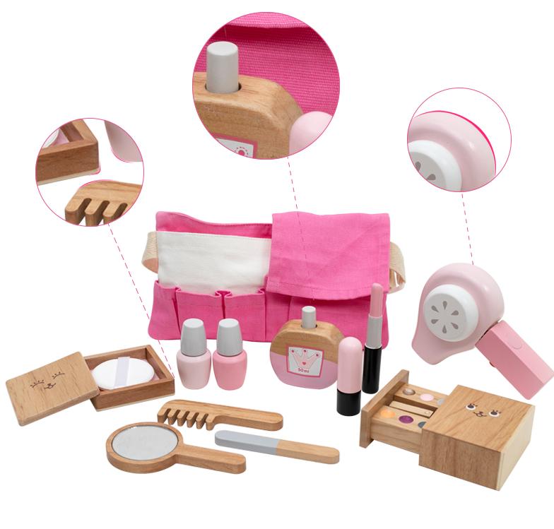 2020 Baru Anak-anak Mainan Hadiah Kayu Gadis Makeup Berpura-pura Bermain Set Simulasi Pengering Rambut Mainan Peran Playing Game untuk Anak-anak